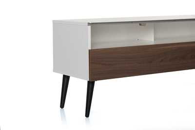 "Sonorous VL1200 Series Modern TV Stand w/ Wood Legs for TVs up to 65"" - White Cabinet / Walnut Cover"