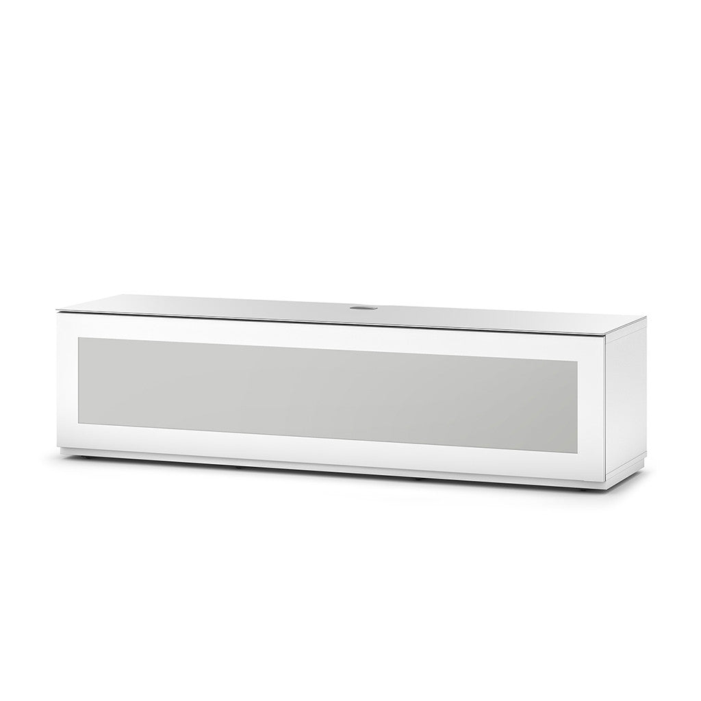 "Sonorous Studio ST160 Modern TV Stand w/ Hidden Wheels for TVs up to 75"" - White / White Glass Cover"