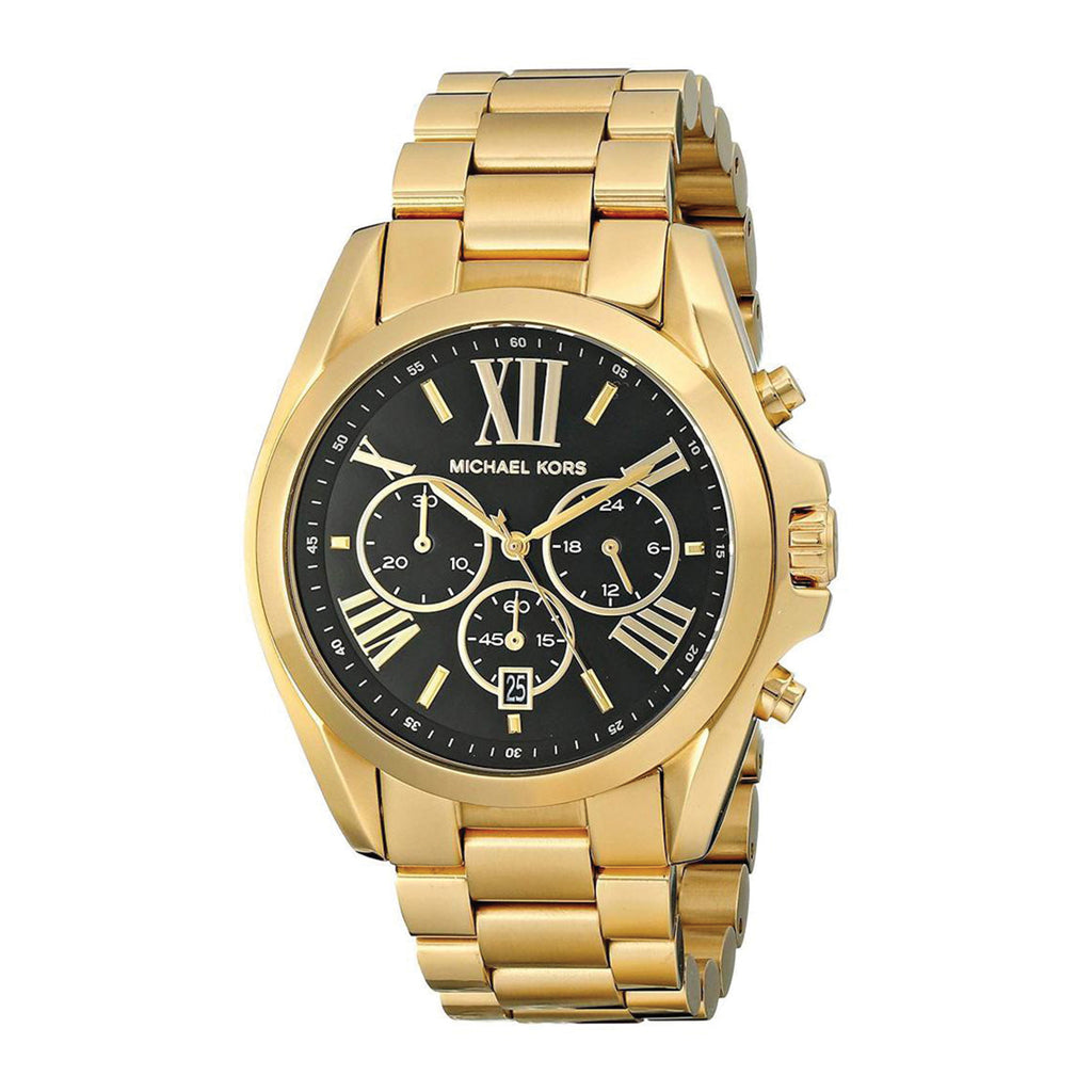 Goldtone Plated Stainless Steel Bradshaw Watch With Black Dial