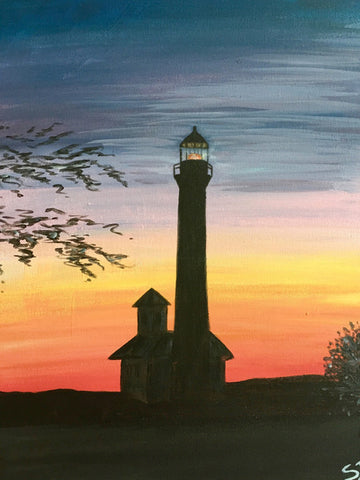paint & cocktails sunset lighthouse