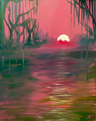 "The WORKS Gourmet Burger Bistro Painting Night - Just $25! - Apr 24th, 2018 (7-9pm) ""Cajun Sunset"""