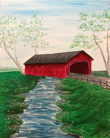"Tracks Brew Pub Painting Night - Apr 24th, 2018 (7-9pm) ""Covered Bridge"" , 60 Queen St E, Brampton"