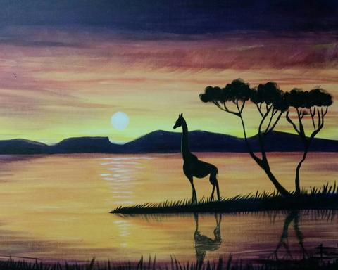 "Gardens & Fields Restaurant Peterborough Paint Night Event - Mar 28th, 2018 ""Serengeti Giraffe"" 925 Airport Rd, Peterborough"