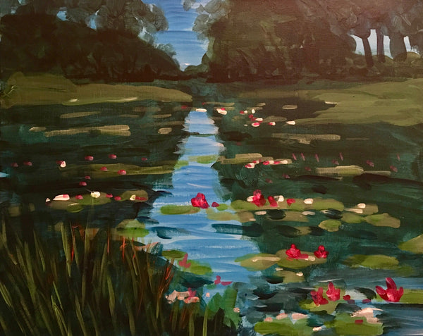 "Shoeless Joe's Aurora Painting Night, May 30th, 2018 (7-9pm) ""Monet's Lillies"""