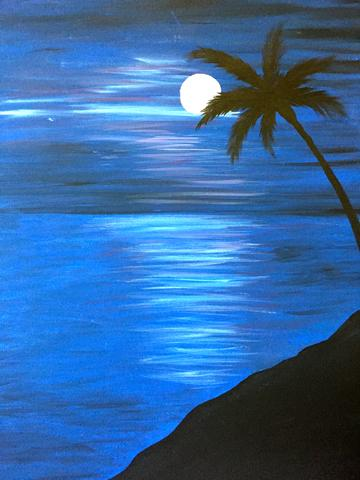 "Oscar's Roadhouse Painting Night- Sat Jan 6th, 2018 (2-4pm) ""Moonlight Palm"" - 1785 Queen St E, Brampton"