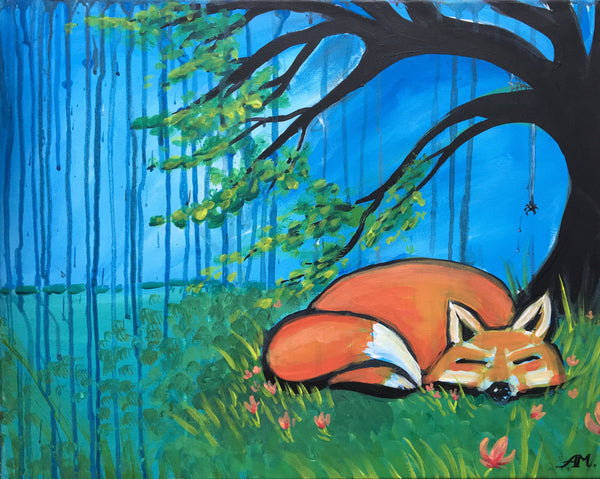 "Shoeless Joe's Guelph 🎨 Summer Kids Painting Party!  Aug 23rd, 2018 (1-3pm) ""(Fox) Rainy Day Nap"""