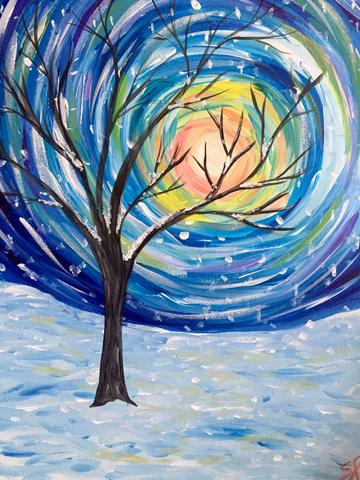 "Stori Aperitivo Bar Painting Night, Dec 13th, 2017 (7-9pm) ""Snow Light"" - 95 King St E, Toronto"