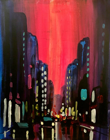 "The WORKS Gourmet Burger Bistro Painting Night  - May 8th, 2018 (7-9pm) ""Summer In The City"""""