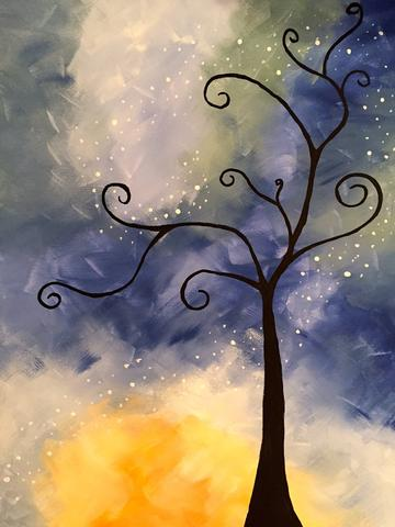 "Stori Aperitivo Bar Painting Night, Oct 25th, 2017 (7-9pm) ""Whimsical Tree"" - 95 King St E, Toronto"