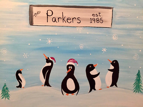 "Lionheart British Pub - Painting Night - Nov 27th, 2017 (7-9pm) ""Penguin Family"" - 3221 Derry Rd W, Mississauga"