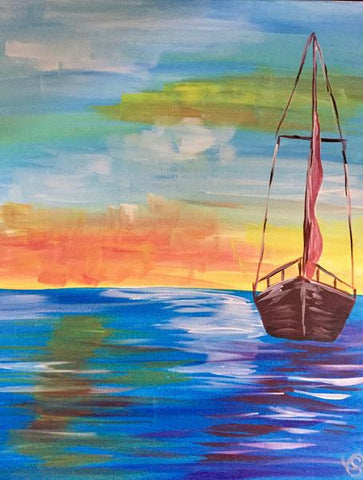 "Pipes & Taps Painting Night -Jan 15th, 2018 (7-9pm) ""Sunrise Sail"" 231 Oak Park Blvd #101, Oakville"