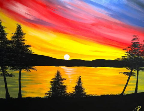 "Whale & Ale, Kitchener - Painting Night - Mar 4th, 2018 (4-6pm) ""Bobcaygeon Sunset"" 1120 Victoria St N, Kitchener"