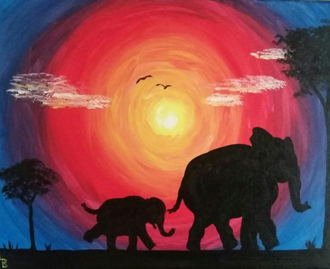 "Kelsey's Georgetown Painting Night - Apr 9th, 2018 (7-9pm) ""Elephants"" 256 Guelph St, Georgetown"