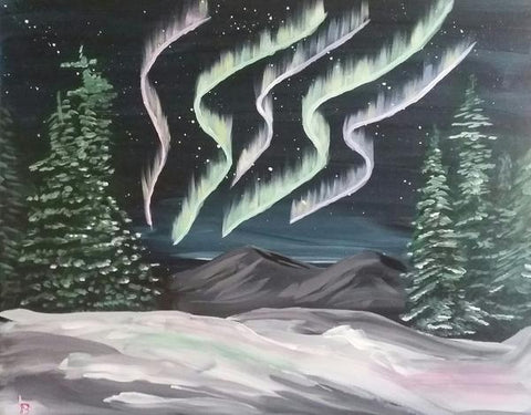 "Kelsey's Georgetown Painting Night - Jan 9th, 2018 (7-9pm) ""Aurora"" 256 Guelph St, Georgetown"