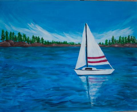 "Shoeless Joe's Aurora Painting Night, Apr 18th, 2018 (7-9pm) ""Sailing Away"" 2 Orchard Heights Blvd, Aurora"