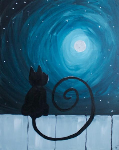 "Oscar's Roadhouse Painting Night- Nov 3rd, 2018 (2-4pm) - ""Small Step for Cats"" - 1785 Queen St E, Brampton"