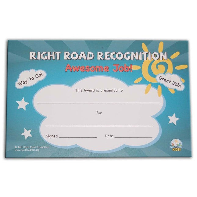 "Right Road 5.5""x8.5"" Recognition Certificates (36 Pack)"