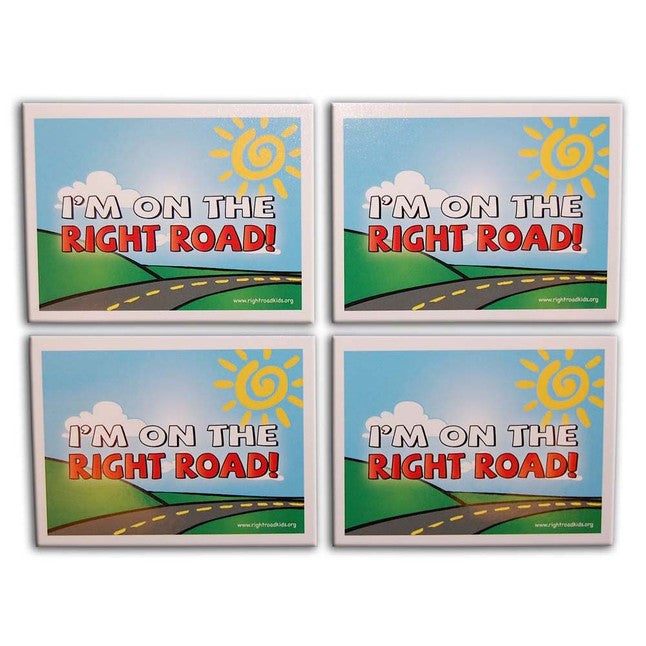 """I'm on the Right Road!"" Stickers 4-Pack (Style 2)"