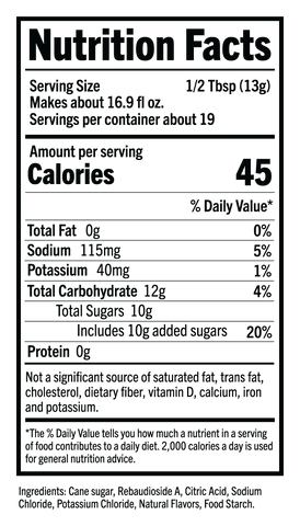 SHIELD Hydration Pouch Nutritional Facts Panel
