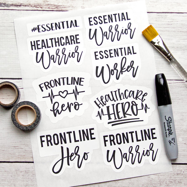 Essential/Healthcare/Hero/Warrior Weatherproof Stickers
