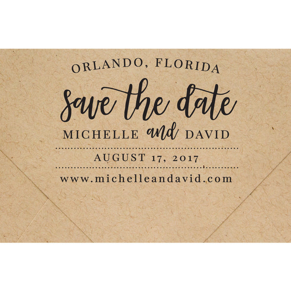 CUSTOM SAVE THE DATE RUBBER STAMP 3 x 2.25 inch