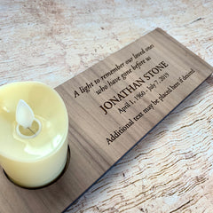 Custom Engraved Memorial Candle Holder - Walnut Face