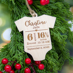 Baby Stats Ornament - Maple Wood