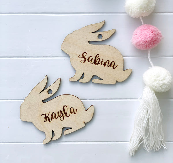 Bunny Wood Engraved Name Tag
