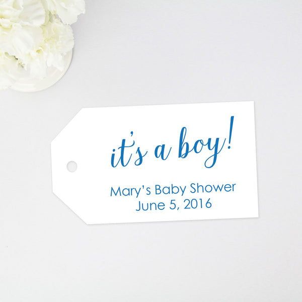 """It's a Boy"" Baby Shower Tag - Large Size - 36 Pieces"