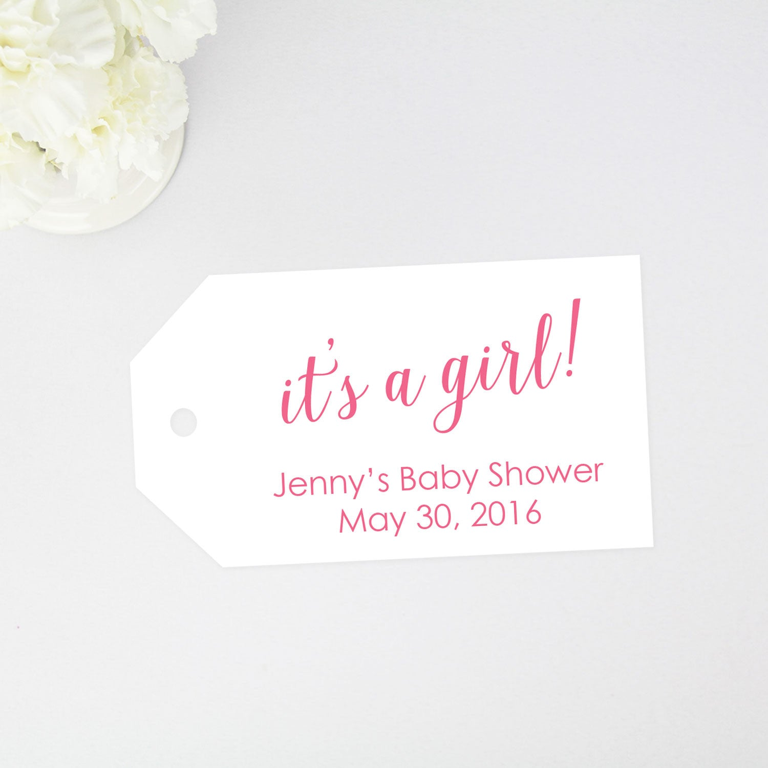 its a girl baby shower tag
