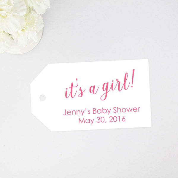 """It's a Girl"" Baby Shower Tag - Large Size - 36 Pieces"