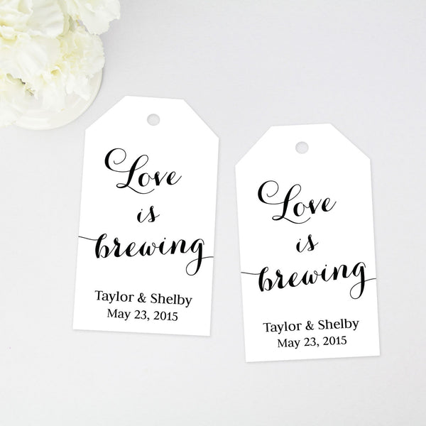Love is Brewing Favor Tag - Large Size - 40 Pieces