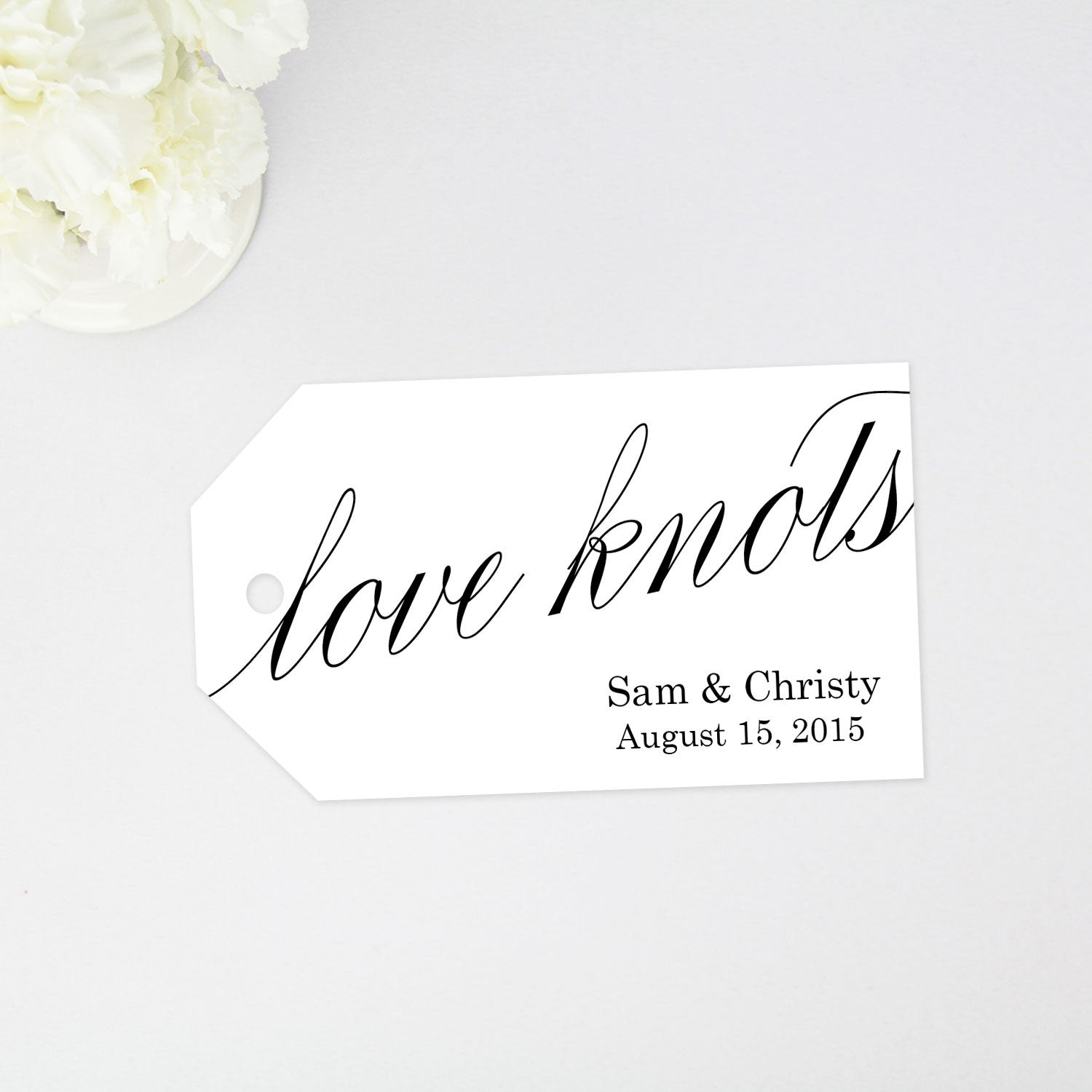 love knots favor tag