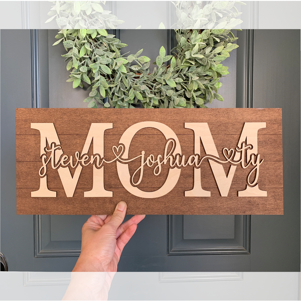 Big Personalized Mom Sign - Up to Eight Names!