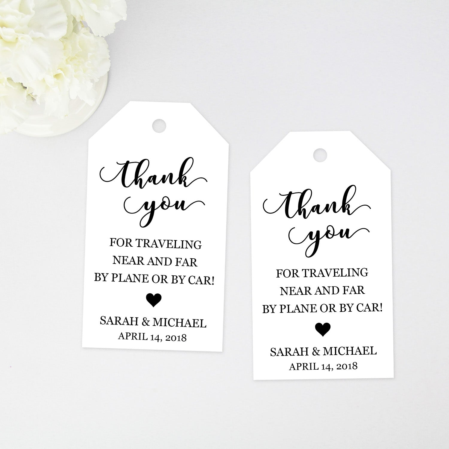 Thank you for traveling Wedding Favor Tags - 40 Pieces