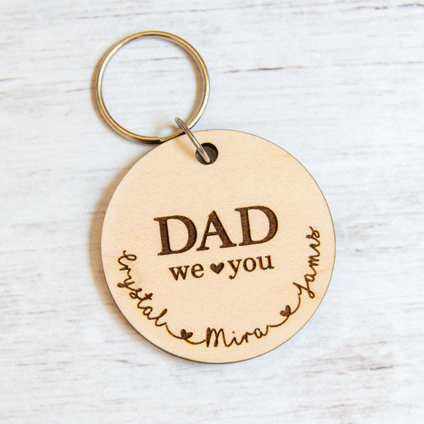 Dad Circle Keychain - Up to 5 kids names