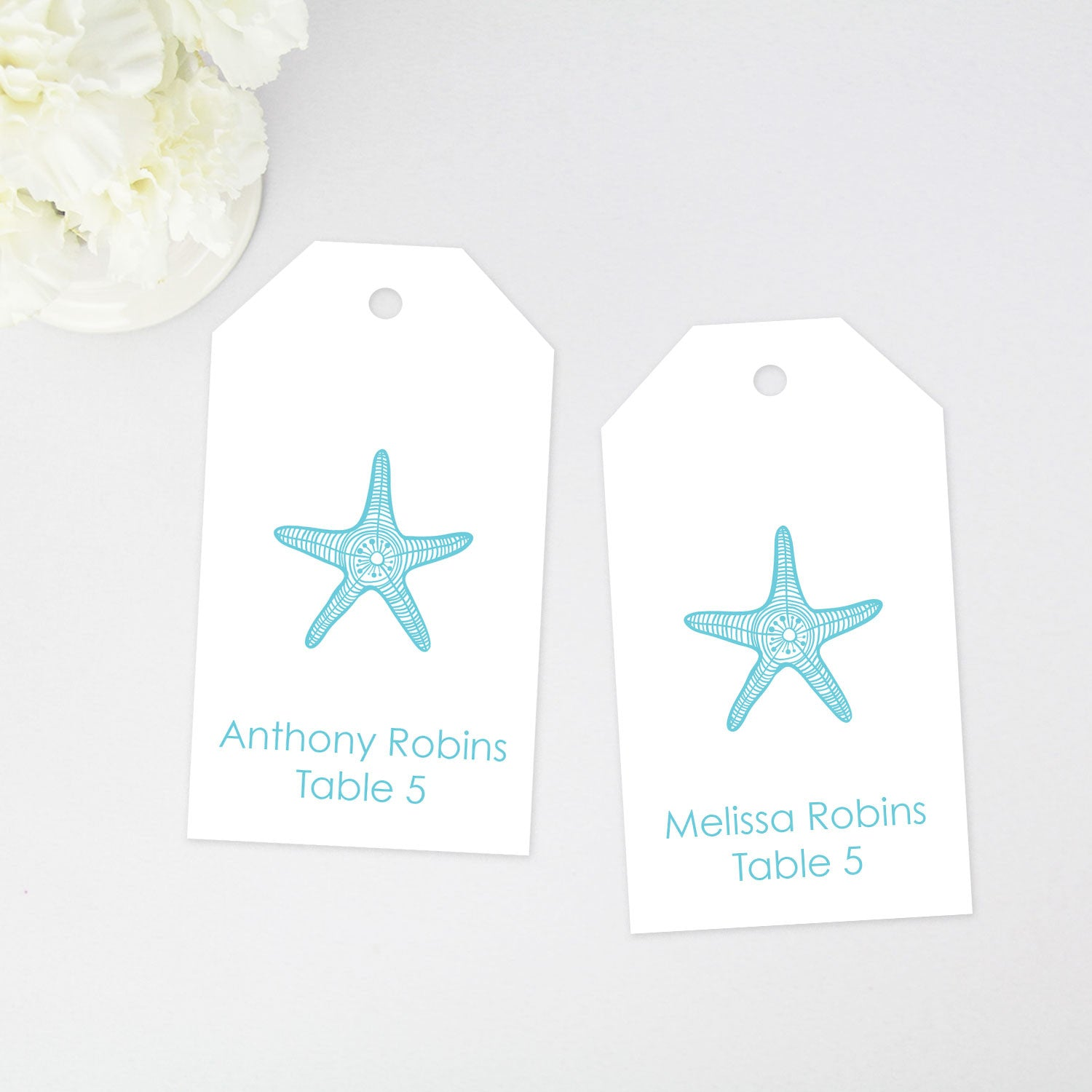 starfish place card tags