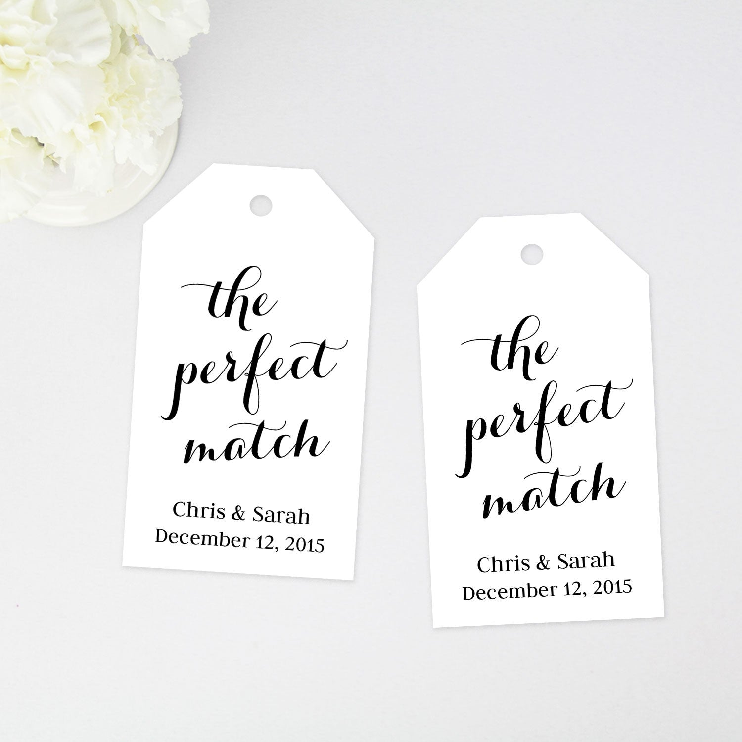 the perfect match favor tag