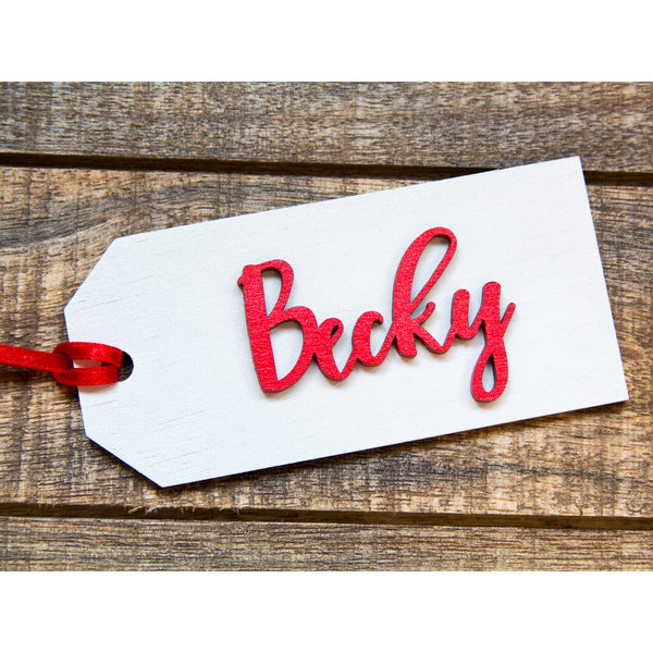 Personalized Wood Stocking Tag - Wood Gift Tag -