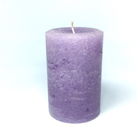 "Light Purple Rustic Large 4"" Wide Pillar Candle"