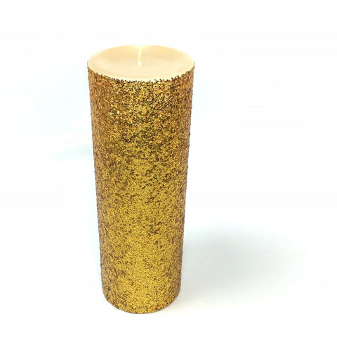 Gold Glitter Pillar Candle Unscented