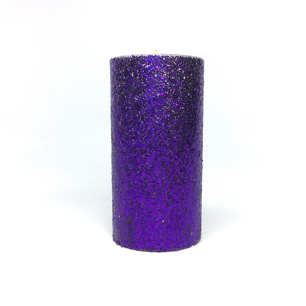 Purple Glitter Pillar Candle Unscented