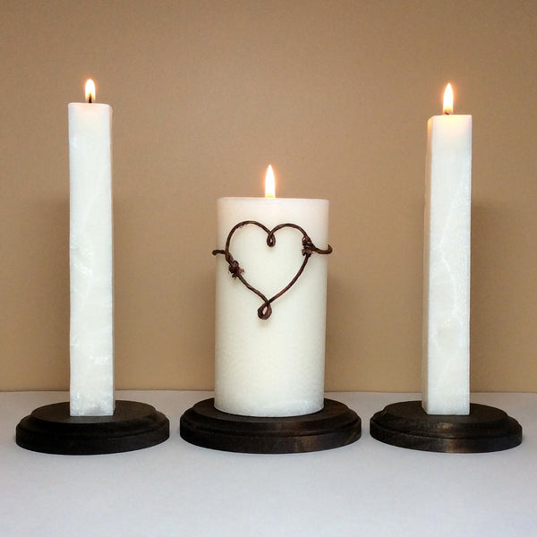 Rustic Unity Candle Set and Stand for Wedding Ceremony - Still Water Candles - 1