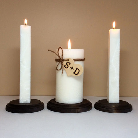 Rustic Unity Wedding Candle Set and Stand- Personalized with Monograms - Still Water Candles - 1