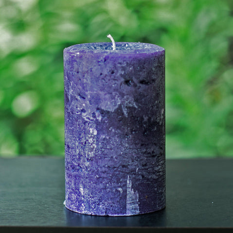 "Rustic Purple Pillar Candle - Large 4"" Wide"