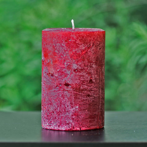 Cranberry Red Rustic Unscented Pillar Candle - Large 4 Inch Wide