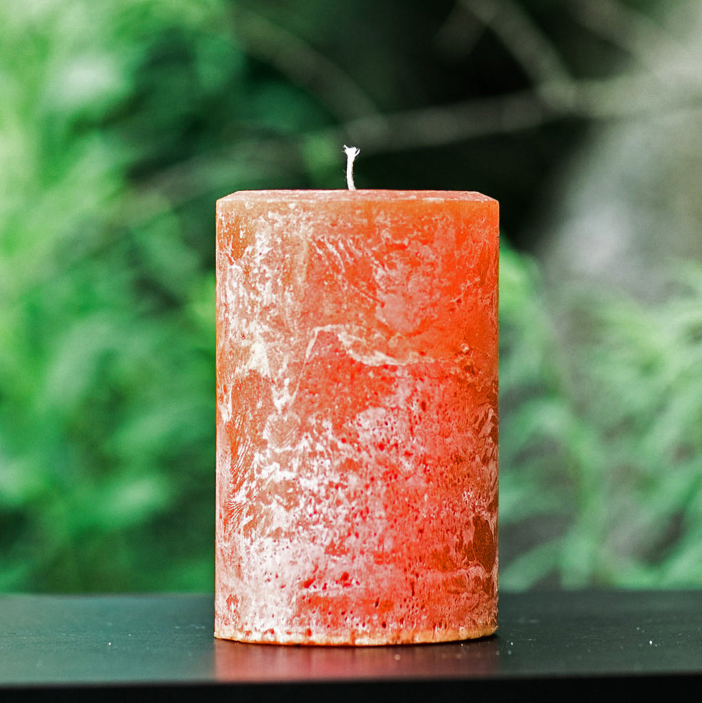 "Burnt Orange Rustic Unscented Large 4"" Wide Pillar Candle"