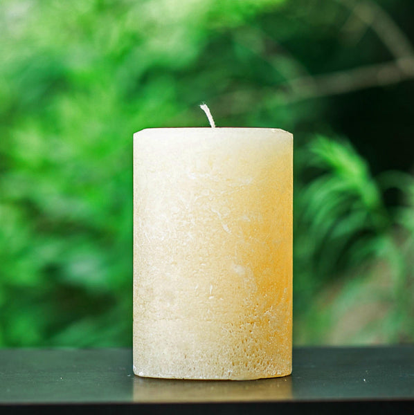 Ivory Rustic Unscented Pillar Candle - Large 4 Inch Wide
