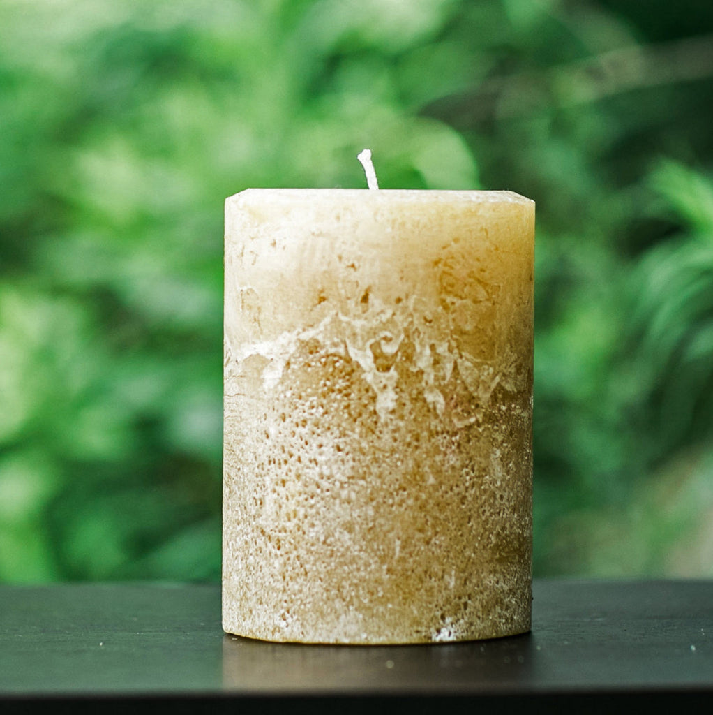"Light Brown Large 4"" Wide Rustic Pillar Candles"