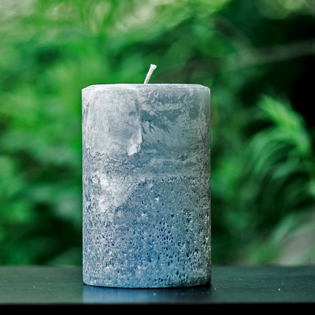 Stone Gray Rustic Unscented Pillar Candle - Large 4 Inch Wide